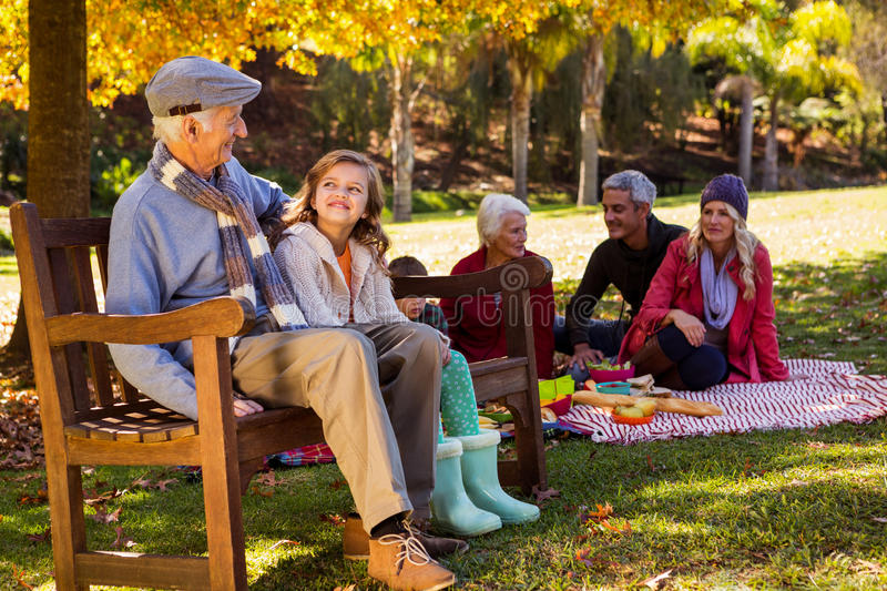 Family picnicking and the grandfather laughing with his grand daughter on a bench royalty free stock photo