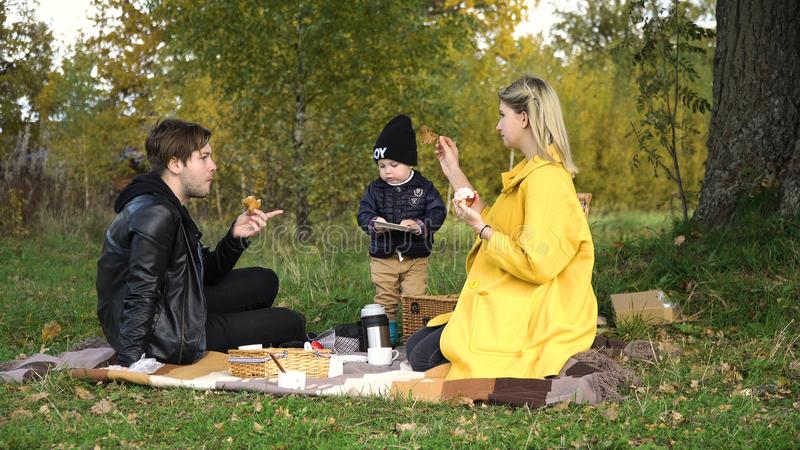 Family picnicking in the park. Young family with son at a picnic in the park on a sunny day. Family having picnic outdoors. Young smiling family doing a picnic royalty free stock photo