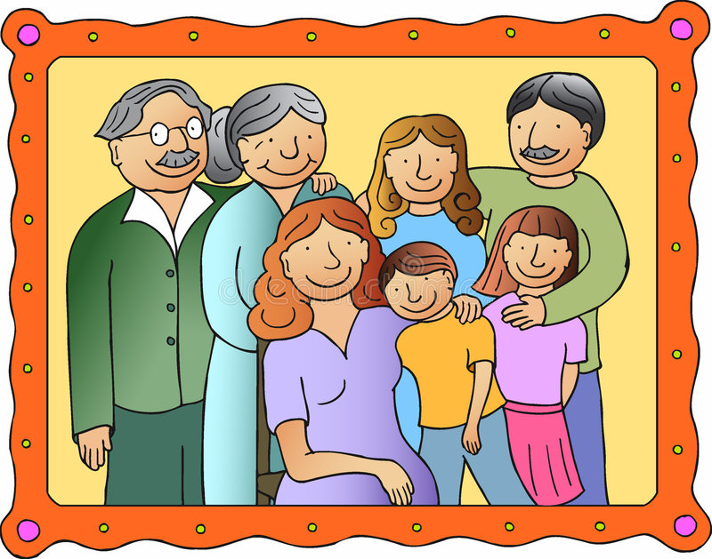 Family picture. Three generations: grandparents, mother, father, two daughters and son stock illustration