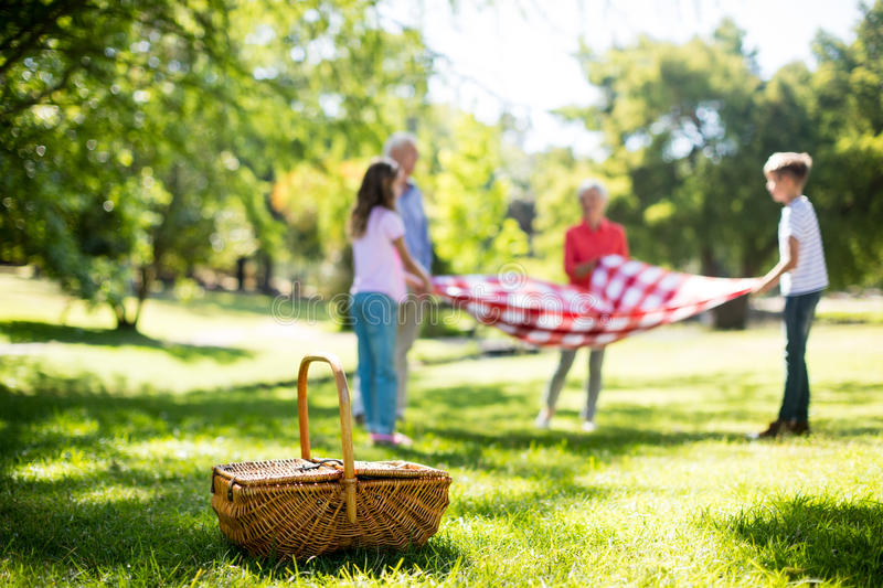 Family placing blanket in park royalty free stock photos