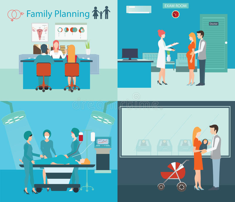 Family planning at the hospital. vector illustration