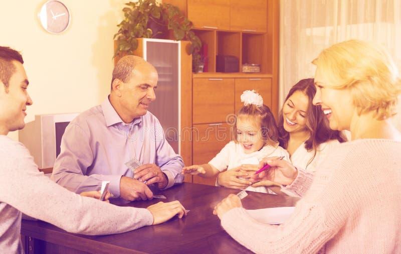 Family play in bridge royalty free stock photos