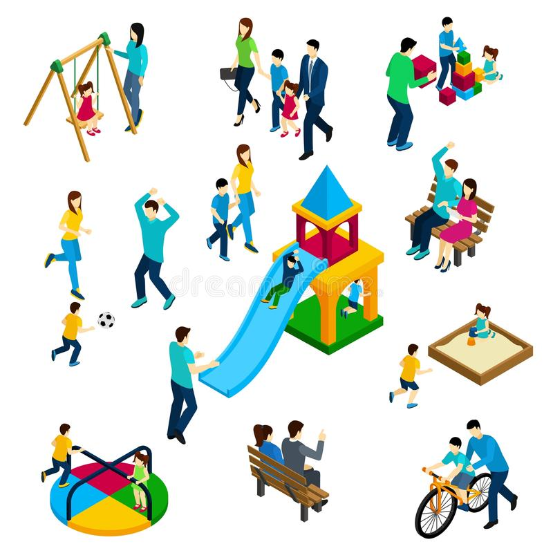 Family Playing Concept. With isometric adults and children on playing ground vector illustration royalty free illustration