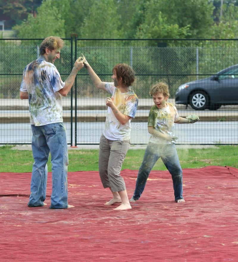 Download Family Playing Holi editorial photo. Image of outside - 26365911