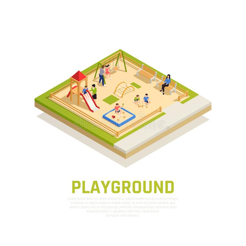 Family Playing Isometric Concept stock illustration