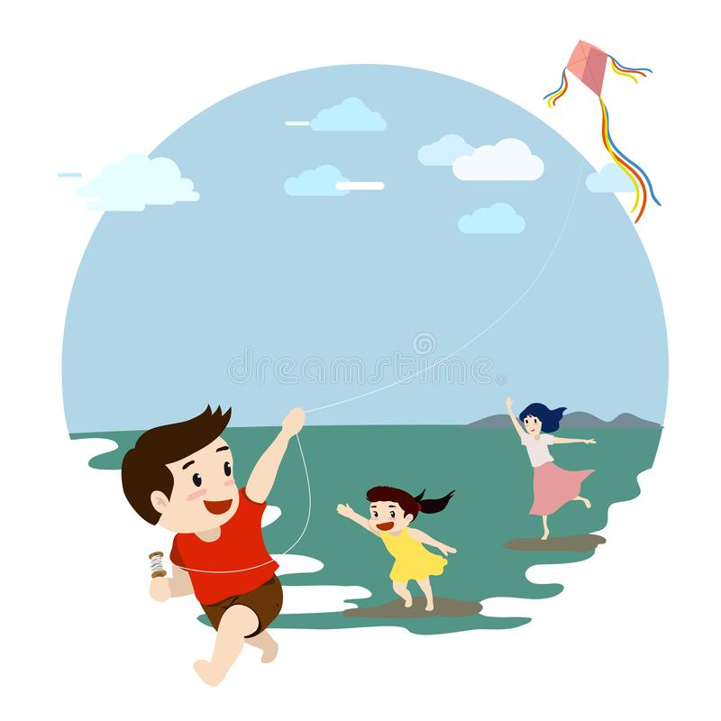 Family of three, mother and son and daughter playing kite together. stock illustration