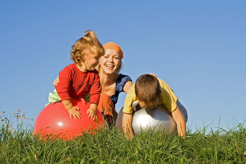 Download Family playing outdoors stock photo. Image of child, kids - 3794692