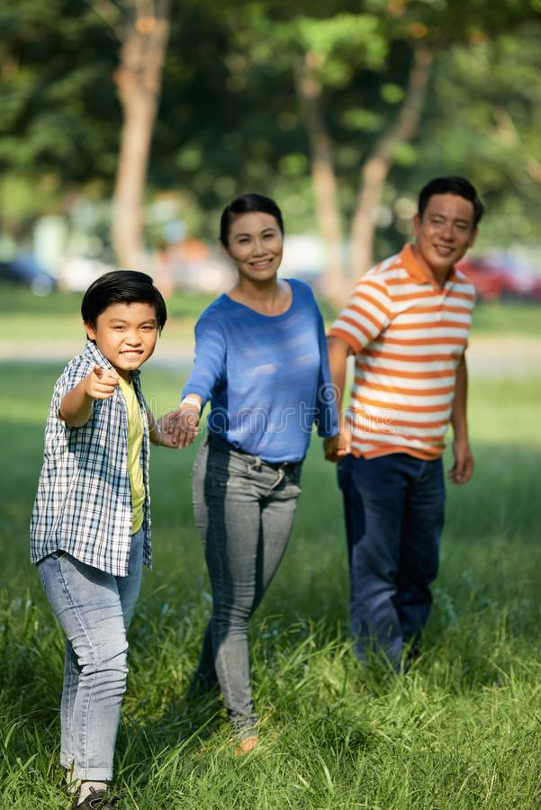 Family playing in park. Cheerful Asian family holding hands when playing in park stock photo
