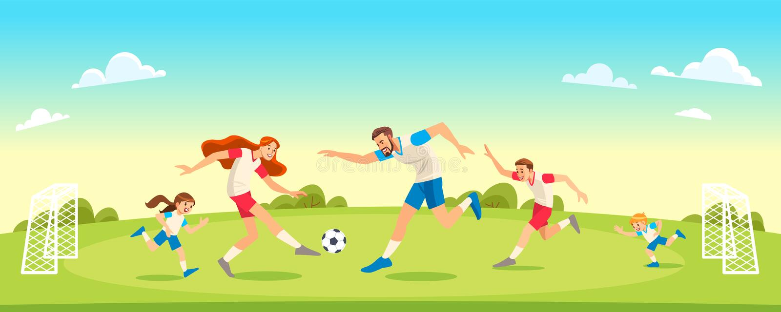 Family Playing Soccer In Park Together. Concept Parenthood child-rearing. Vector illustration. stock photo