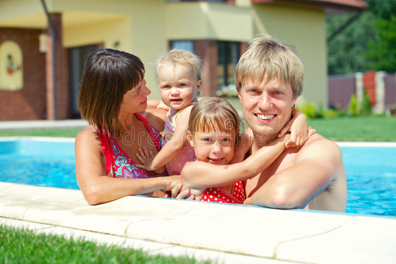 Download Family in the pool stock image. Image of baby, childhood - 31903821