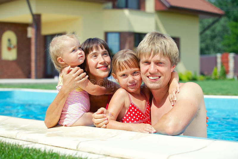 Download Family in the pool stock photo. Image of child, caucasian - 31903828