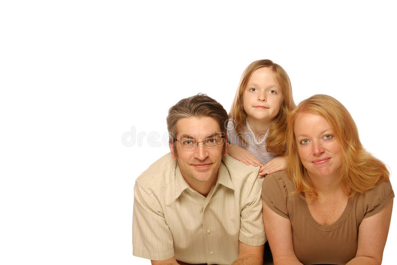 Family portrait. Young family posing on a isolated background stock photo