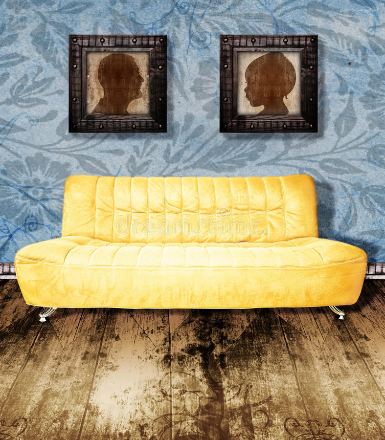 Family portrait and couch on wallpaper stock illustration