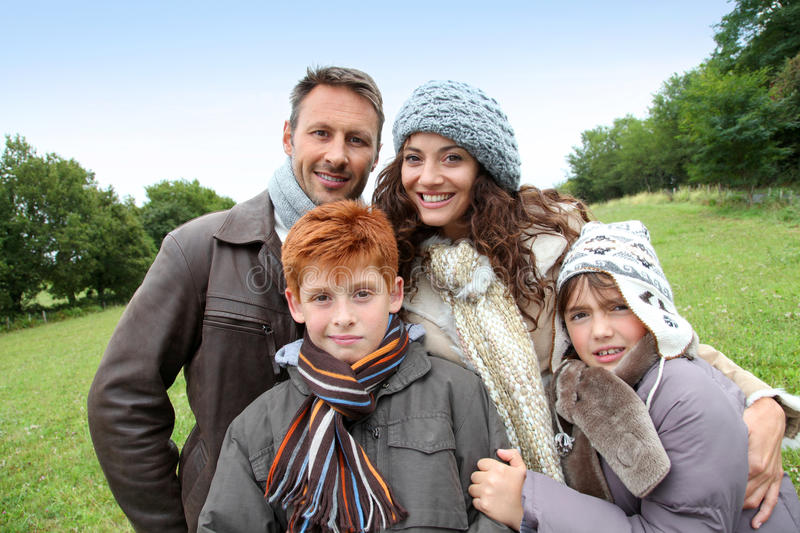 Family portrait in fall season royalty free stock photo