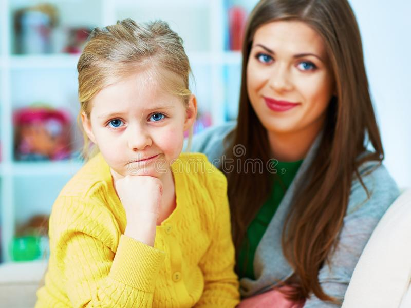 Family portrait. Mother and daughter. Happy girl. royalty free stock photography