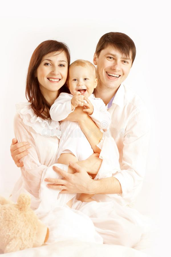 Family Portrait, Mother Father and Baby Kid, Happy Parens stock images