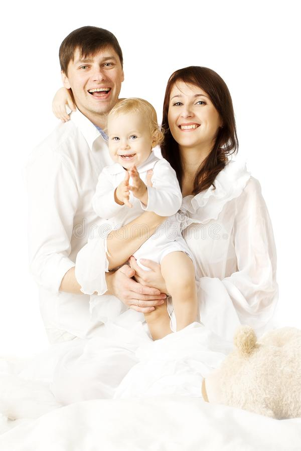 Family Portrait, Mother Father and Baby, Parents with Kid royalty free stock photos