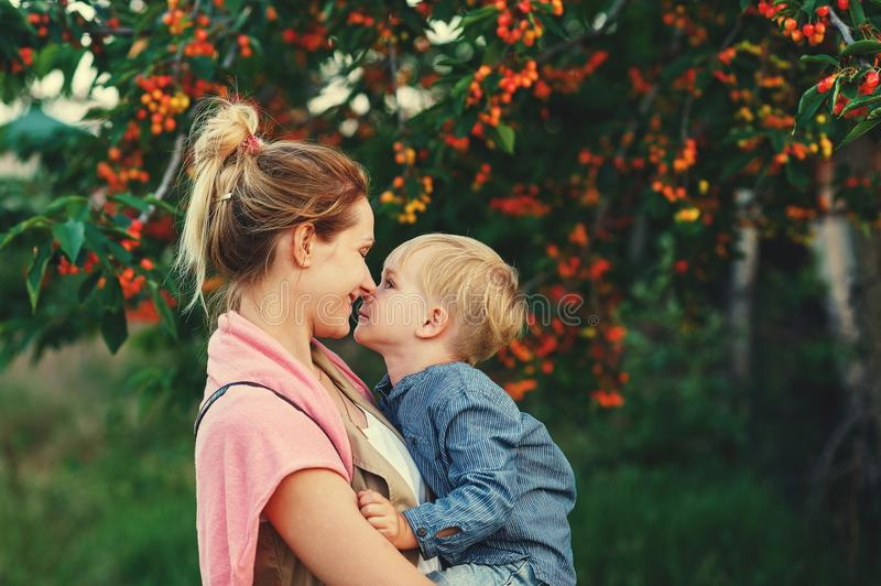 Family portrait of mother and son in nature. Mother`s day stock images