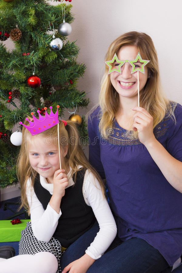 Family portrait near New Year tree stock images