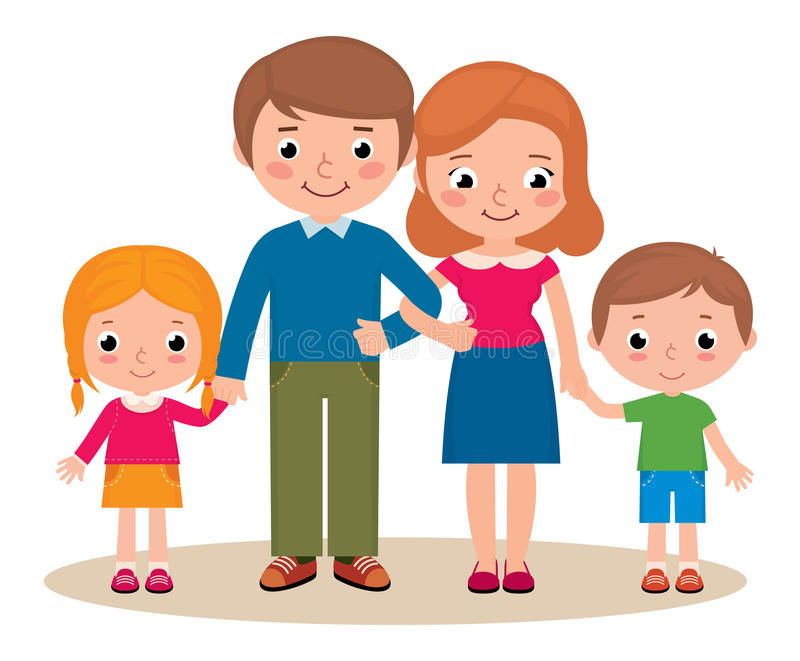 Family portrait of parents and their children stock illustration