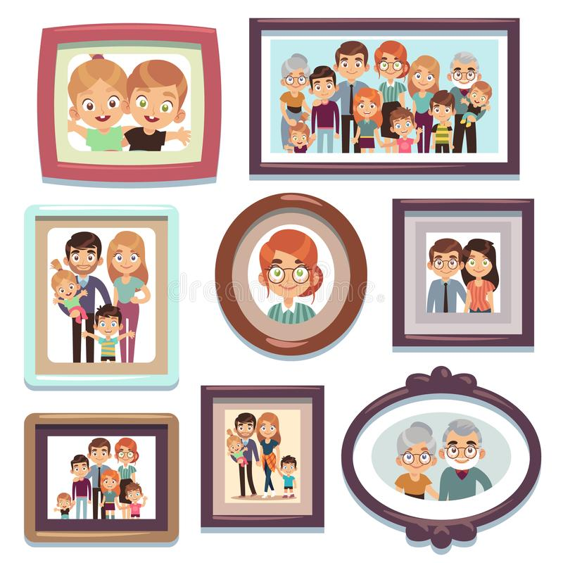Family portrait photos. Pictures people photo frame happy characters relatives dynasty parents kids relationship, flat stock illustration