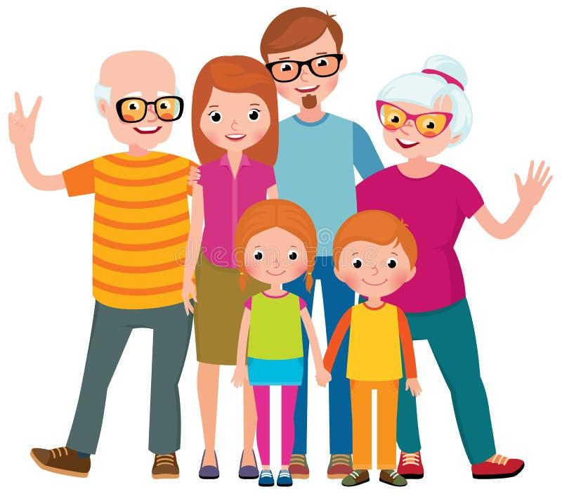 Family portrait of three generations parents children and grandchildren on white background stock illustration