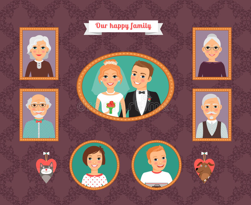 Family Portrait. Wall With Family Photo Frames Stock Vector ...