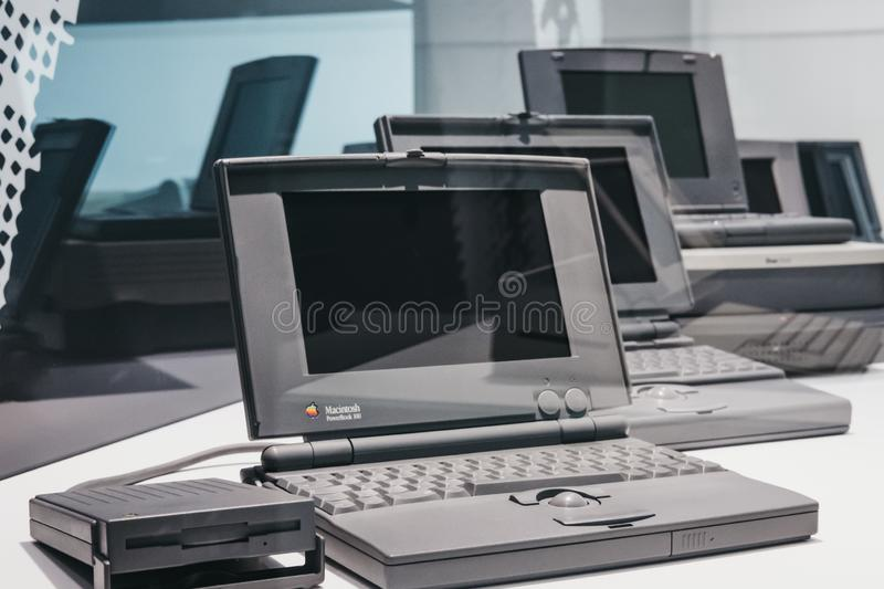 Family of PowerBook portable computers on display inside Apple Museum in Prague, Czech Republic. Prague, Czech Republic - August 28, 2018: Family of PowerBook stock photos