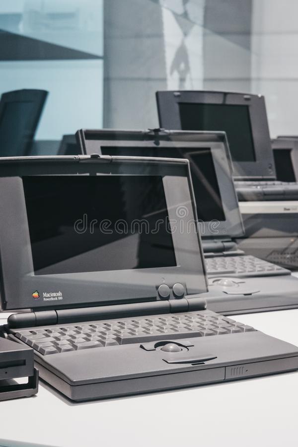 Family of PowerBook portable computers on display inside Apple Museum in Prague, Czech Republic. Prague, Czech Republic - August 28, 2018: Family of PowerBook stock photo