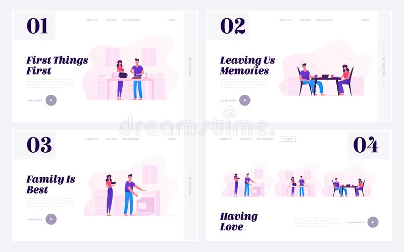 Family Prepare Food Website Landing Page Set. Young Loving Couple Cooking Together on Kitchen, Having Meal and Washing Dishes vector illustration