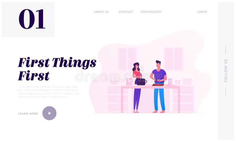 Family Prepare Food Website Landing Page. Young Loving Couple Cooking Together on Kitchen Every Day Routine, Love and Relations. Family Prepare Food Website stock illustration