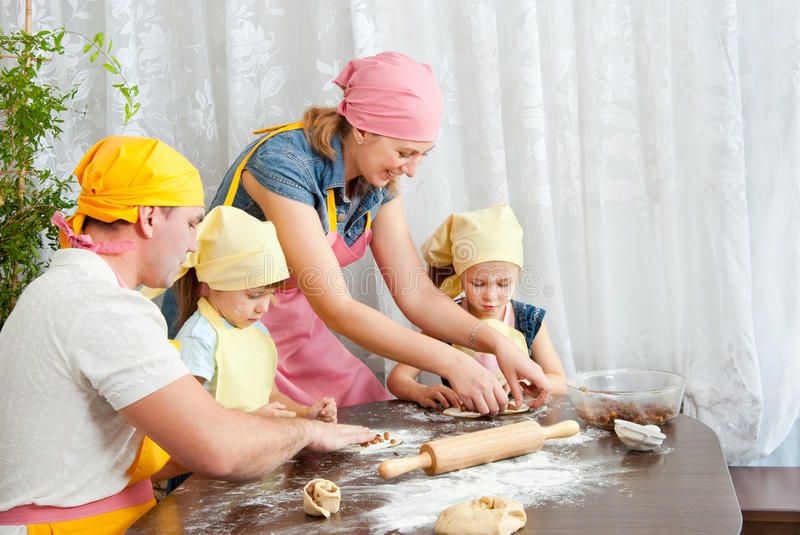 The family is preparing stock photo