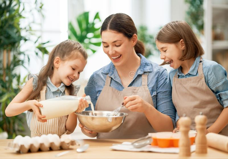 Family are preparing bakery together royalty free stock photography