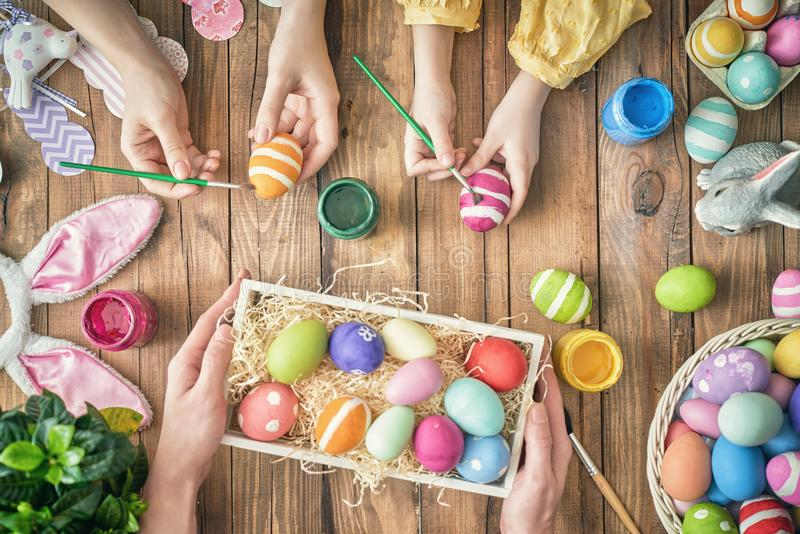 Download Family Preparing For Easter Stock Photo - Image of child, colored: 110737340