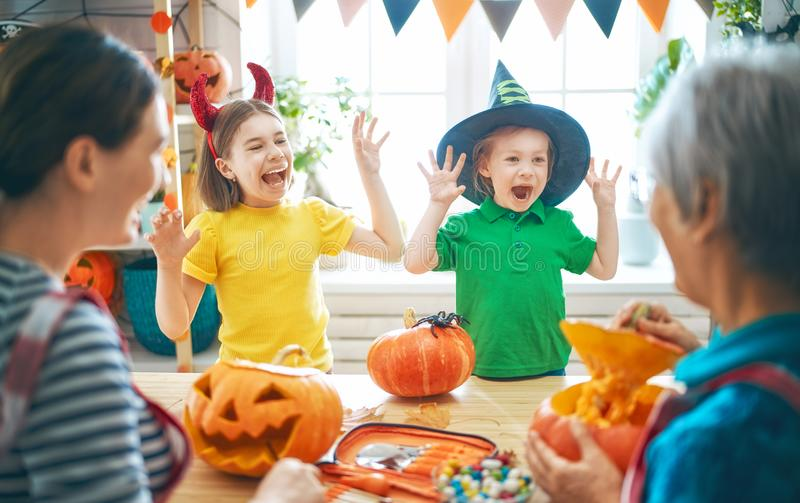 Family preparing for Halloween stock photography