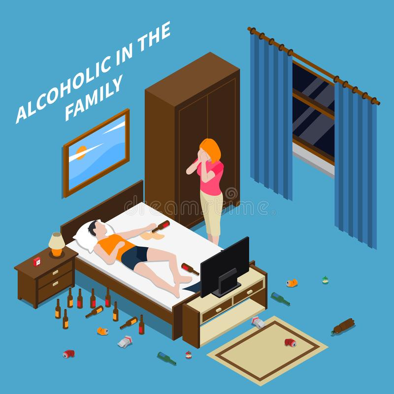 Family Problems Alcoholism Isometric Composition royalty free illustration