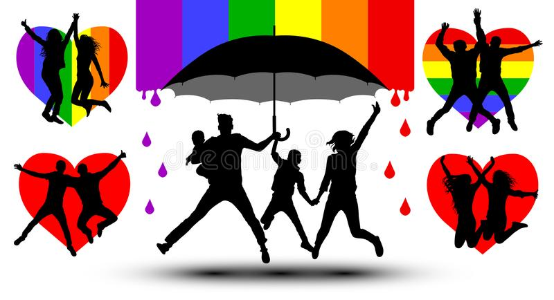 Family is protected by an umbrella, silhouette. Gender couple. Propaganda, LGBT flag. royalty free illustration