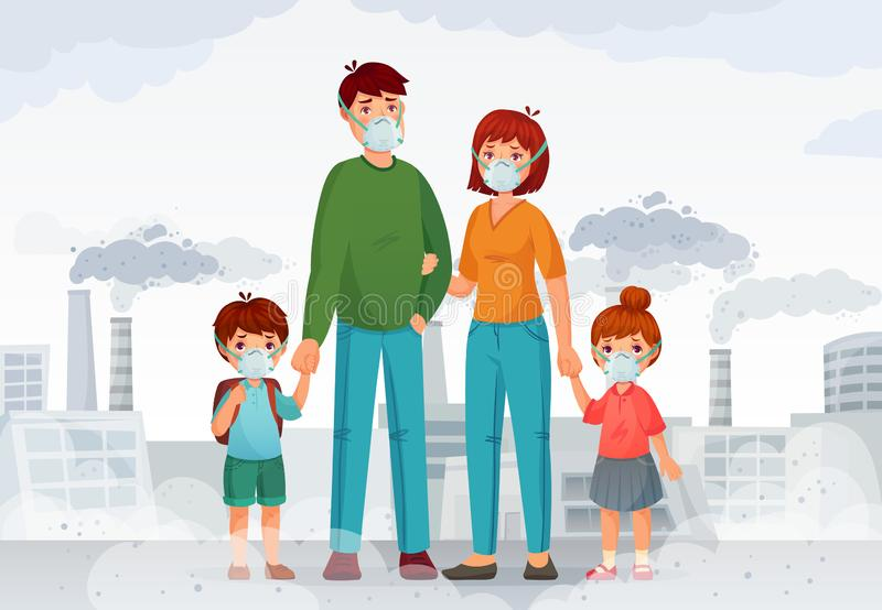 Family protection from contaminated air. People in protective N95 face masks, industry smoke and safe mask vector. Family protection from contaminated air stock illustration