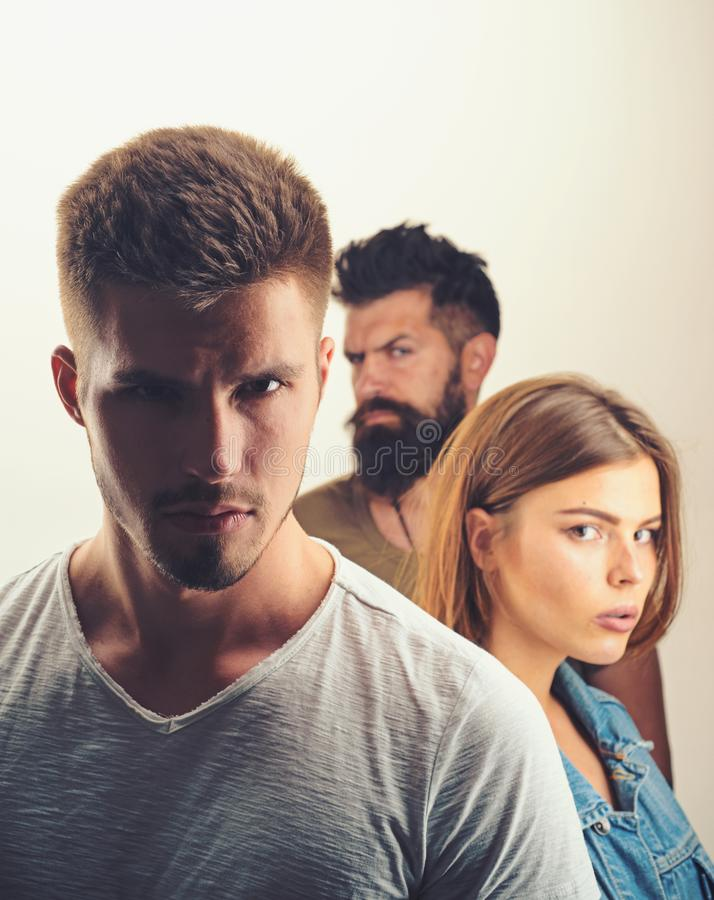 Family psychologist therapy. club for people with problems. Hopes and wishes. depression and suicidal tendencies girl. With two men. Love relations of people royalty free stock photos