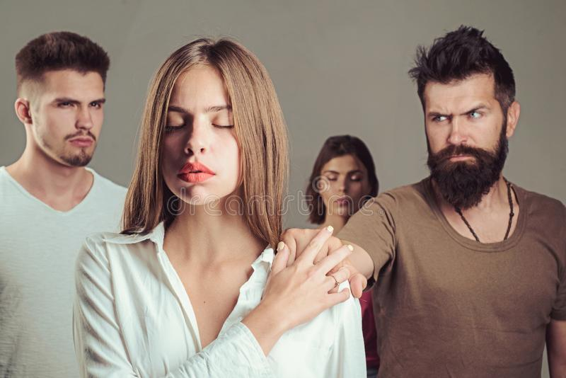 Family psychologist therapy. depression and suicidal tendencies girls with two men. Love relations of people. Hopes and. Wishes. club for people with problems royalty free stock images