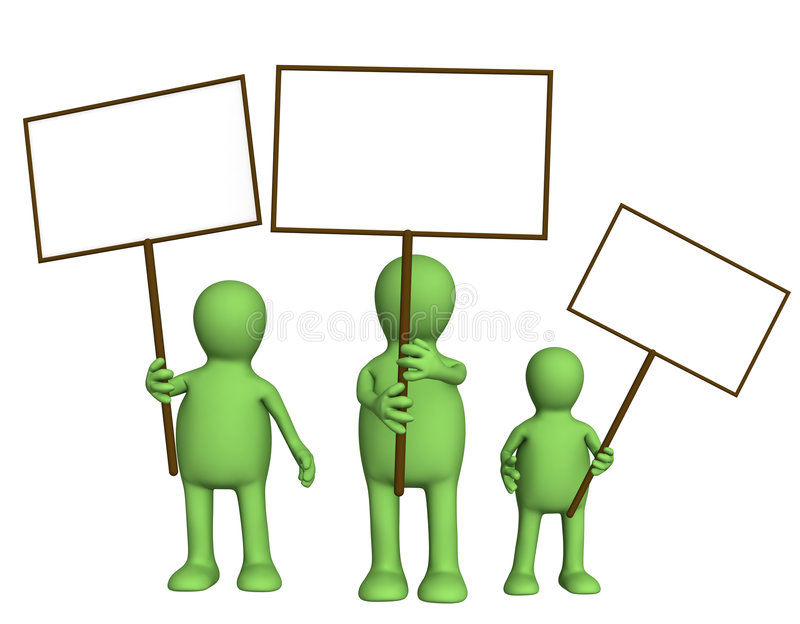 Family Of Puppets With Posters Stock Photos