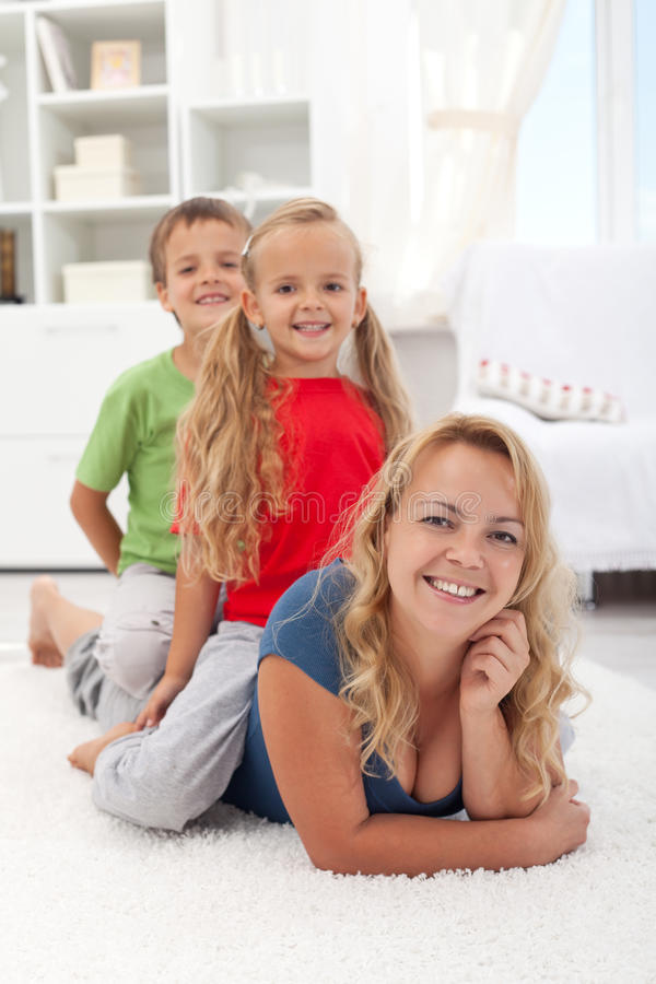 Family quality time - woman with kids
