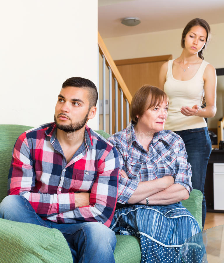 Family quarrel and discussion at home. Interior royalty free stock images
