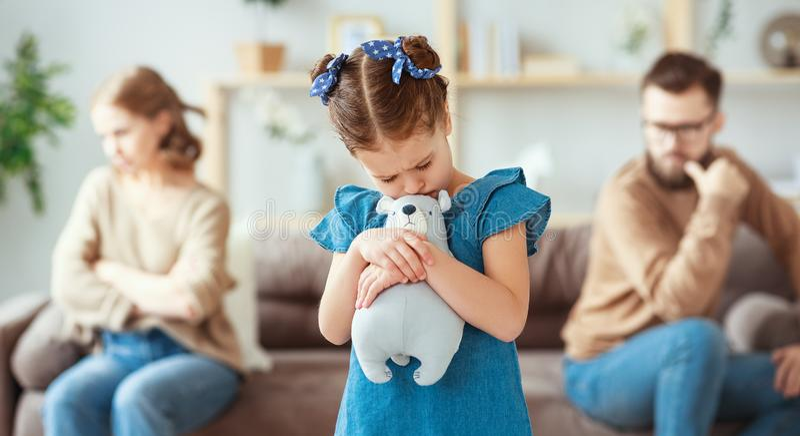Family quarrel divorce parents and child swear, conflict stock images