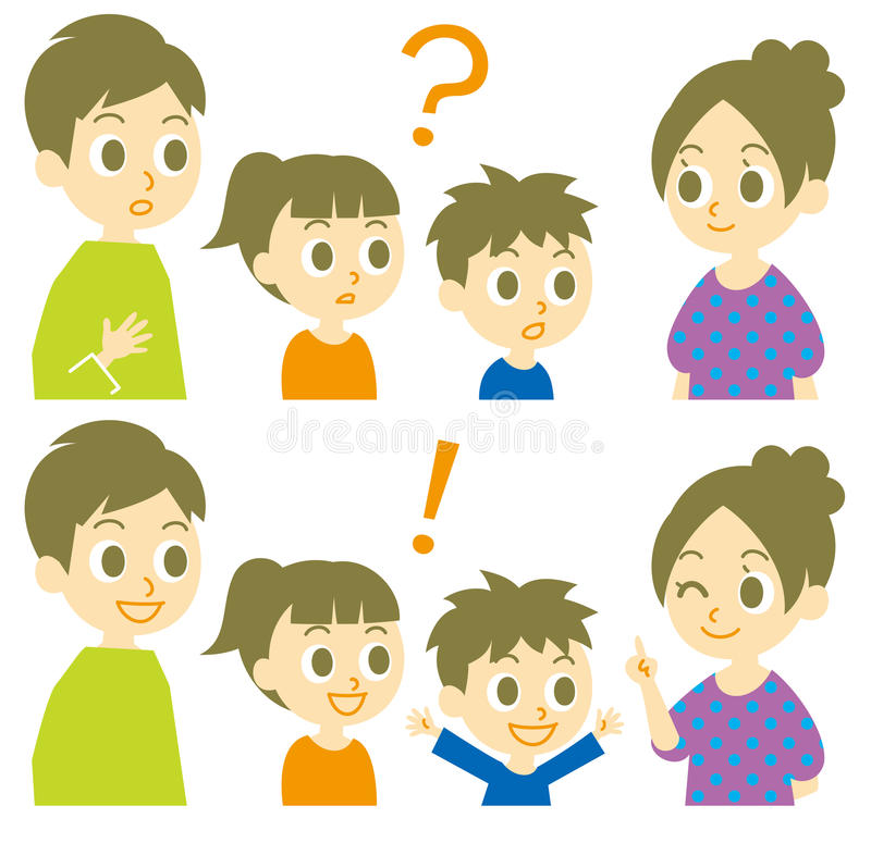 Family, question and answer vector illustration