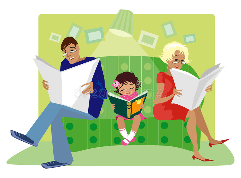 Family reading. Father, mom and small daughter reading