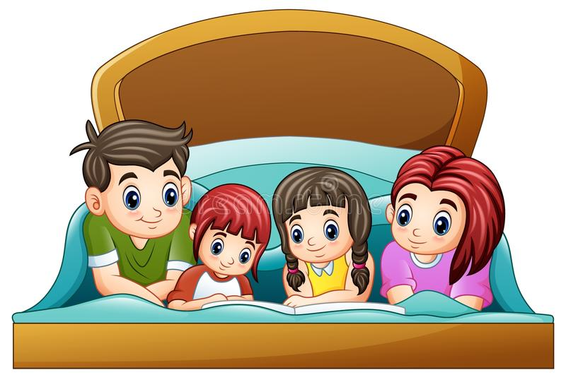 Family reading a book to two daughter on bed on a white background royalty free illustration