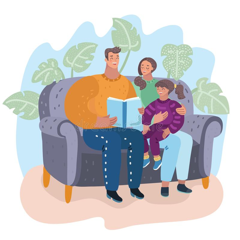 Family reading book together sitting on couch. Family. Father, mother and daughter reading story book together sitting on the couch. Happy parents with their royalty free illustration