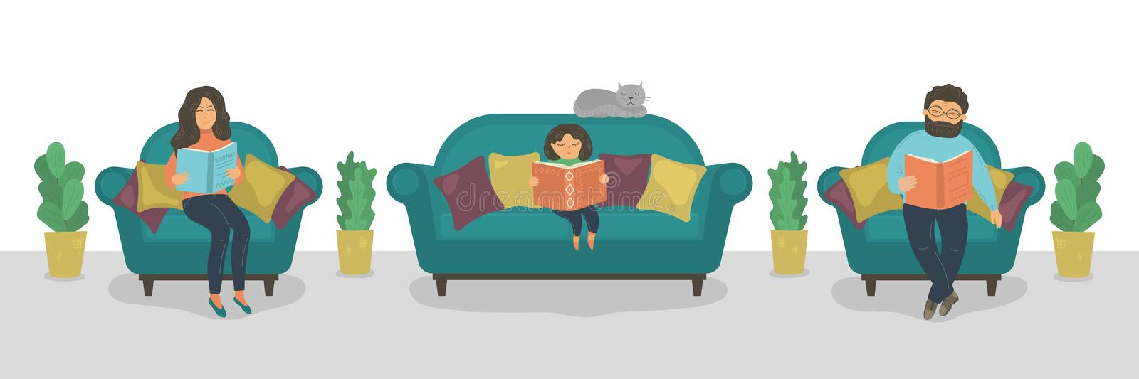 Family reading books. Mother, father and daughter reading books on sofa. vector illustration