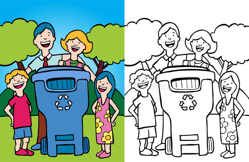 Download Family Recycling stock vector. Image of black, coloring - 10617513